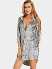 Crushed Velvet Hooded V-neck Mini Dress in Grey