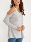 Light Grey Round Neck Cold Shoulder Long Sleeves T-shirt