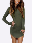 Army Green Pullover Curved Hem Bodycon Fit Dress