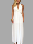 Deep V-neck with Applique Maxi Dress in White