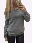 Grey Casual Lightweight Off Shoulder T-shirts
