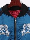 Embroidery Pattern Contrast Color Lining Jacket