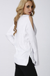 White Cold Shoulder Asymmetrical Blouse
