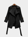 Black Self-tie Waist Button Details Lapel Collar Coat