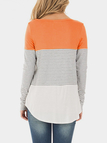 Orange Stripe Round Neck Long Sleeves T-shirt