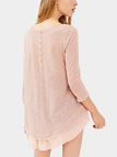 Pink 3/4 Length Sleeves Semi-sheer Layered Simple Mini Dress