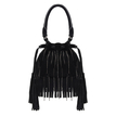 Suedette Double Tassel Grab Bag in Black