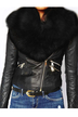 Cropped Leather Biker Jacket With Fur Collar