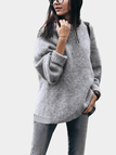 Grey Round Neck Loose Knitted Plush Sweater