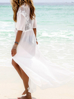 Bianco See Through Splited Hem Beachwear
