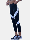 Active Contrast Color Quick Drying Gym Leggings in Black