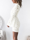 White Lace Hollow Out Bodycon Mini Dresses with Lining
