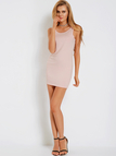 Pink Round Neck Sleeveless Backless Mini Dress