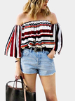 Off-the-shoulder Colorful Stripe Print Top