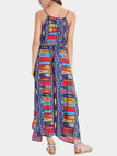 Bohemia Style Random Floral Pattern Maxi Dress With Cami Strap