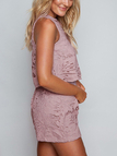 Purple Sexy Hollow Design Lace Details Sleeveless Co-ord