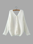White V Neck Sweater with Button Back