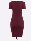 Burgundy Short Sleeves Wrap Bodycon Dress with Self-tie