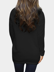 Black Cozy Round Neck Side Pockets Top