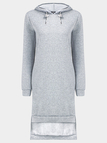Grey Longline Hoodie With Stepped Hem