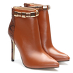 Brown Patckwork Design Stiletto Short Boots