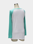 Blue Round Collar Raglan Sleeve Top with Letter and Arrow Print