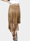 Brown Double Tassel Midi Skirt