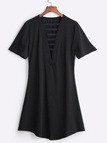 Black Casual V-neck Ladder Cutout Front Tee Dress