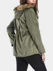 Army Green Hooded Design Elastic Straps Coat
