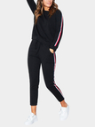 Black Stripe Round Neck Long Sleeves Drawstring Waist Active Suit