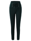 Dark Green High-waisted Elastic Pencil Pants with Lace-up Front Design