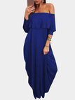 Blue Flounced Design Off Shoulder Half Sleeves Maxi Dress