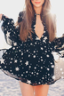 V Neck Star Print Long Sleeve Chiffon Dress