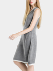 Grey V-neck Stripe Causal Knit Dress