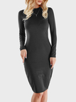 Dark Grey Round Neck Long Sleeve Midi Dress