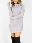 Grey Sexy High Neck Long Sleeves Knit Casual Dress