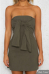 Strapless Tie Front Mini Bodycon Dress in Khaki