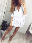 White Distinctive Wave Layer Design Elastics Waist Mini Skirt