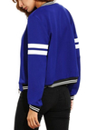 Active Zip Design Contrast Color Jacket in Blue