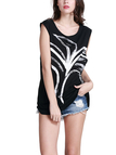Random Floral Print Pattern Round Neck Sleeveless Vest in Black