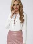 White Lace Up Blouse