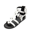 White Leather Look Gladiator Flat Sandals