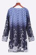 Blue Random Aquatic Print Long Sleeved Mini Dress