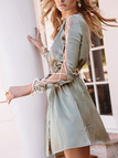 Green Satin Lace-up Design Slit Hem Tigh-waist Dress