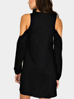 Black V-neck Cold Shoulder Long Sleeves Dress