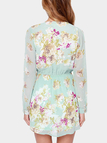 Plunge Tie Up Front Cold Shoulder Random Floral Pattern Dress with Lining