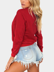 Red Snake Print Crew Neck Long Sleeve Sweatshirt