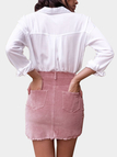 Pink Solid Color High Waist Bodycon Skirts