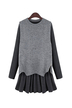 Grey Long Sleeve Flouncing Two Pieces Plus Size Dress