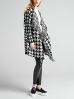 Tassel Knitted Waterfall Cardigan with Houndstooth Pattern